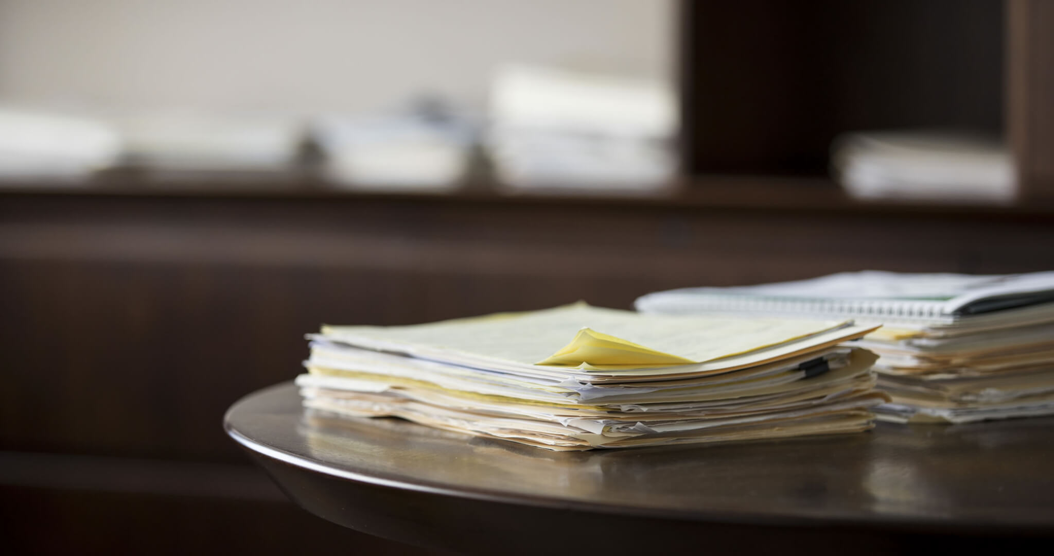 Stack of documents on a table