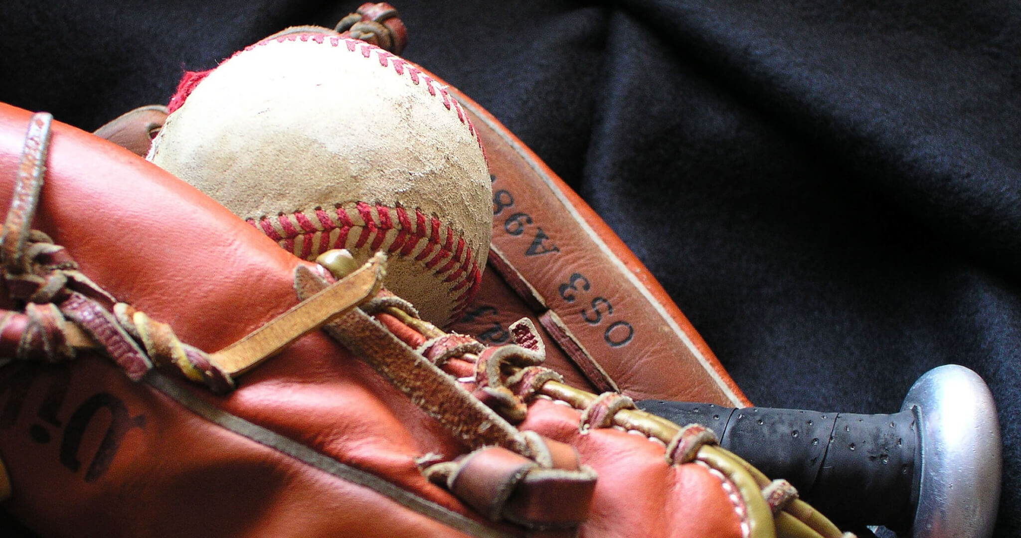 Image of a baseball, glove and bat